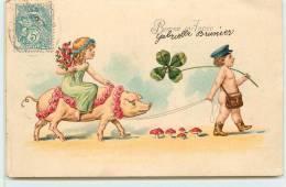 BONNE ANNEE -  Thème, Enfants Cochon, Champignons. - Cochons