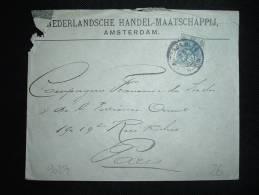 LETTRE POUR LA FRANCE TP 12 1/2 C OBL. 23 JUIN 09 AMSTERDAM 11 - Periode 1891-1948 (Wilhelmina)