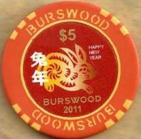 "AUSTRALIA $5 TOKEN CASINO BURSWOOD WESTERN A. ""YEAR OF THE RABBIT' "" 2011 ISSUE ANIMAL HEAD RED READ DESCRIPTION !! - Sin Clasificación"