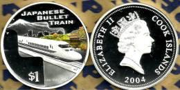 COOK ISLANDS $1 TRAIN JAPAN BULLET FRONT QEII HEAD BACK 2004 PROOF 1Oz .999 SILVER READ DESCRIPTION CAREFULLY !!! - Cook
