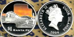 COOK ISLANDS $1 TRAIN USA SANTA FE FRONT QEII HEAD BACK 2004 PROOF 1Oz .999 SILVER READ DESCRIPTION CAREFULLY !!! - Cook