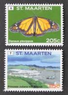SINT MAARTEN ++ NEW NEW ++ 2011 DEFINITIVES LANGLOPENDE VLINDER BUTTERFLY AIRPLANE   MNH NEUF ** - Curacao, Netherlands Antilles, Aruba