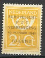 Pay-Bas Netherlands Nederland 1943, Europese P.T.T. Vereniging *, MLH, Plaatfout: 404 P1 - Periode 1891-1948 (Wilhelmina)