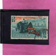 TANGANYIKA TANZANIA 1961 INDIPENDENCE LAND TILLAGE FARM WORK DISSODAMENTO DELLA TERRA 5sh USATO USED OBLITERE' - Protectorados De África Oriental Y Uganda