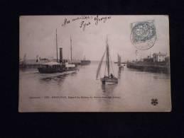 HONFLEUR - DEPART DU BATEAU DU HAVRE DANS LES JETEES 1905 - Honfleur