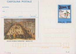 INTERO POSTALE CALCIOFIL '90 COPPA DEL MONDO DI CALCIO ITALIA 1990 - L. 650 - CATALOGO FILAGRANO C216 - NUOVA ** - Ganzsachen