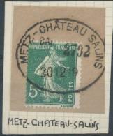 N° 137, Sur Petit Fragment, Superbe C.à.d De L'Ambulant Allemand Ovale 'Metz-Le-Château Salins' Le 30 Décembre 1919 - 1906-38 Semeuse Camée