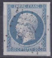 N 14A   20C BLEU - OBL CENTRALE - 3 VOISINS - SUPERBE - 1853-1860 Napoleon III