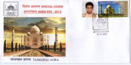 India 2012 Taj Mahal AGRAPEX-12 Architecture EMBOSSED Special Cover With MY STAMP ( Personalized Stamp) Inde Indien 7371 - Mosques & Synagogues