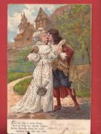 Q0487 Histoire D'amour Chevalier Et Sa Belle,Litho.Cachet 1908. Relief. Déchirure Au Bas De La Carte. - Couples