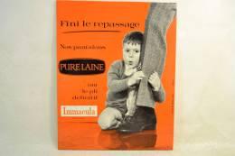 Plaque Publicitaire Années 1960 - 1970. Pantalons IMMACULA (pub Orange Enfant), Vêtements Mode Textiles Design Pub Plv - Placas De Cartón