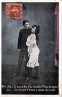 Frau In Dessous In Erotischer Pose Mit Mann, Gelaufen 1907 - Frauen