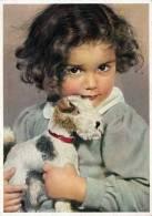 Mädchen Mit Stoffhund, Nicht Gelaufen 1960, Gute Erhaltung - Kinder