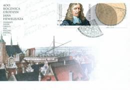 POLAND 2011 FDC 400TH BIRTH ANNIV ASTRONOMER HEVELIUS ASTRONOMY SCIENCE SPACE Astronomer Hewelius Ships Port Gdansk - Sterrenkunde