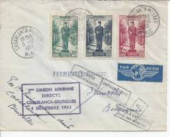 MAROC -1953 - LETTRE DE CASABLANCA A DESTINATION DE BRUXELLES - - Maroc (1891-1956)