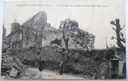 02 : Hartennes Et Taux - L´Eglise Après Le Passage Des Allemands - Animée - Militaria - Ruines - France