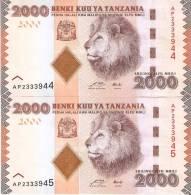 LOTE DE 2 BILLETES CORRELATIVOS DE TANZANIA DE 2000 SHILINGI DE UN LEON (LION) (BANKNOTE) NUEVOS SIN CIRCULAR - Tanzanie