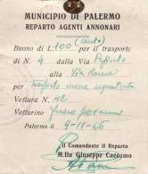 PALERMO /  Buono Di Lire 100 -  Reparto Agenti Annonari _  1946 - [ 1] …-1946 : Koninkrijk