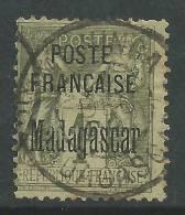 Madagascar N° 21 O Type Sage Surchargé : 1 F. Vert-olive Assez Belle Oblitération, TB - Gebraucht