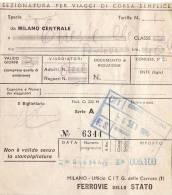 MILANO Centrale /  Trieste Centrale -   Ticket _ Biglietto FF.SS.  - 1961 - Europa