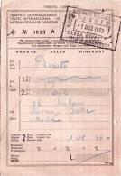 TRENTO / PARIGI  -   Ticket _ Biglietto   - 1959 - Treni