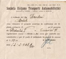 """PETRALIA  SOTTANA /  TERMINI IMERESE -2.2.1943  Ticket _ Biglietto Da Lire 19 - """"Soc. Ital. Trasporti Automobilistici"""" - Biglietti Di Trasporto"""