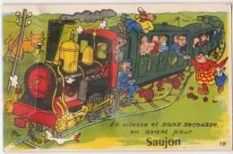 CPA 17 SAUJON Souvenir Fantaisie Carte à Système Train Humour Petit Carnet De 10 Vues - Saujon