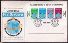 1980 Zimbabwe, F.D.C. Anniversario Rotary, Serie Completa - Zimbabwe (1980-...)