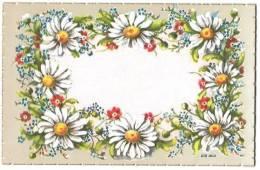 FLEURS GUIRLANDE MARGUERITES Signée G.D. 14x9cm - Fleurs, Plantes & Arbres