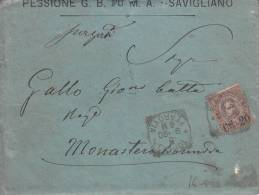 STORIA POSTALE-REGNO UMBERTOI-BUSTA SOVRASTAMPA 2Oc Su 30c 5-9-1890-PUBBLICITA'PESSIONE G.B.SAVIGLIANO-LETTERA-INTERNO- - Posta
