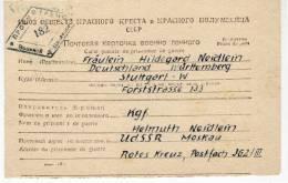 7029 PRISONER POW SOVIET CAMP CCCP TO STUTTGART GERMANY WITH TEXT