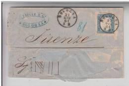 STORIA POSTALE-SU BUSTA VITT.EMAN.II 2Oc 27-6-1861 BOLOGNA X FIRENZE LETTERA SCRITTA INTERNO- - Posta