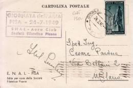 STORIA POSTALE CARTOLINA POSTALE F.D.C GIORNATA DELL'ARIA PISA 24-7-1949 E.N.A.L AERO CLUB SOC.FILATELICA PISANA - Avions