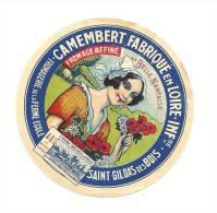 Ancienne Etiquette Fromage  Camembert Fabriqué En Loire Infre La Belle Nantaise  Fromagerie De La Ferme école St Gildas - Fromage
