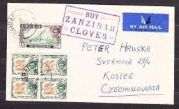 ZANZIBAR 1961, AIR MAIL COVER Posted To Czechoslovakia. Condition, See The Scans. Wear. - Zanzibar (...-1963)