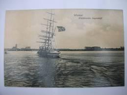 """(1/1/10) AK Wismar """"Einfahrendes Segelschiff"""" 1907 - Wismar"""