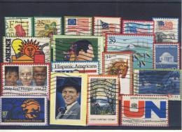 USA  Lot -  different  used stamps on piece of cover -