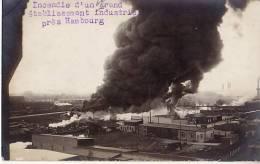 Unique CPA Photo HAMBOURG WILHEMSBURG - Incendie D'un Grand Etablissement Industriel - Wilhemsburg
