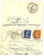 REF LACHSEM - CL SEMEUSE CAMEE 10c ST.GERMAIN EN LAYE/LE PECQ 30/11/1909 RETOURNEE - Entiers Postaux
