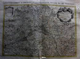 SUPERBE GRANDE CARTE  Par SANSON (Paris 1693 )- GOUVERNEMENT D´ORLEANS ET LA GENERALITE DIVISEE EN SES ELECTIONS - Carte Geographique