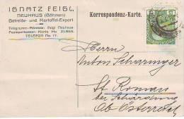 900v: Altösterreich, Getreide- Kartoffelexport Böhmen 1914. Vorder- U. Rückseite Beachten. - Agriculture