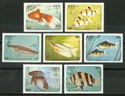 1985  Kampuchea Vita Marina Marine Life Pesci Fishes Fische Poissons Set MNH** Po96 - Kampuchea