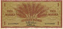Republic Suomen Pankki 1 Markka Bank Note Unc - Finlandia