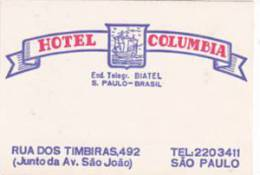 BRASIL SAO PAULO HOTEL COLUMBIA VINTAGE LUGGAGE LABEL - Hotel Labels