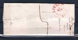 Voorloper/Précurseur 23/11/1837 Van/de LIEGE Naar/vers  SOIGNIES (GA1057) - 1830-1849 (Belgique Indépendante)