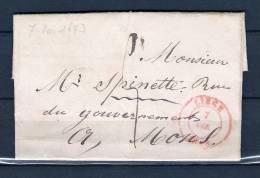 Voorloper/Précurseur 07/10/1843 Van/de LIEGE Naar/vers MONS (GA1062) - 1830-1849 (Belgique Indépendante)