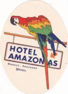 BRASIL MANAUS HOTEL AMAZONAS SMALL VINTAGE LUGGAGE LABEL - Hotel Labels