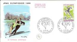 France 1968 FDC Sport Figure Skating Winter Olympics Grenoble Dance - FDC
