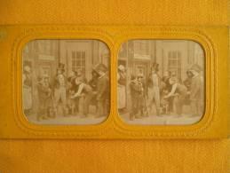 Photo Stereoscopique - Arrivee à La Gare En Couleur - Stereoscopic