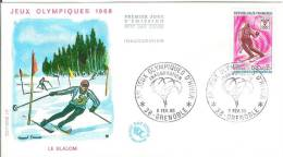 France 1968 FDC Skis Sport Slalom Winter Olympics Games Grenoble - FDC